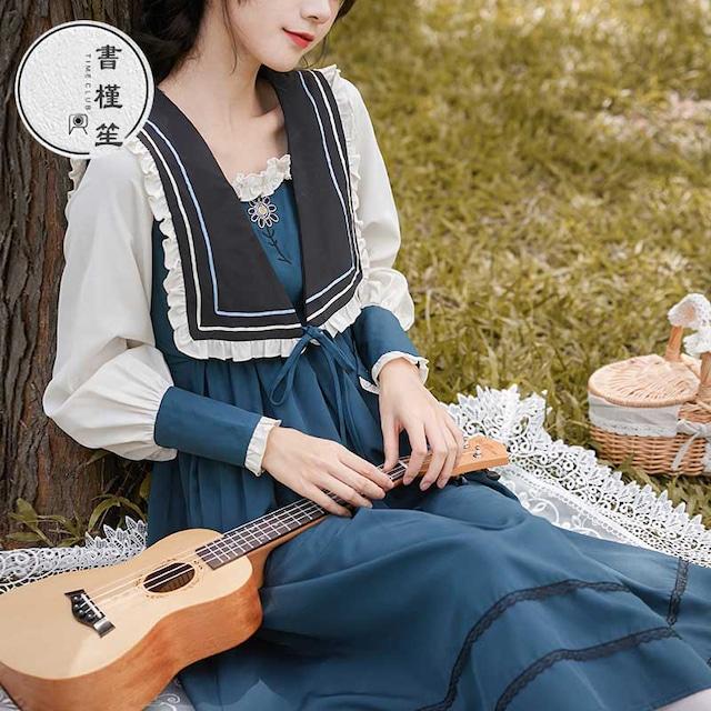 【書槿笙シリーズ】★ロングワンピース★ JK風 セーラー服 配色 可愛い ロリータ 洋服 レトロ ブルー 青い