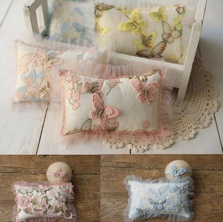 上品レースのバタフライ刺繍の枕&ヘアアクセサリーセット