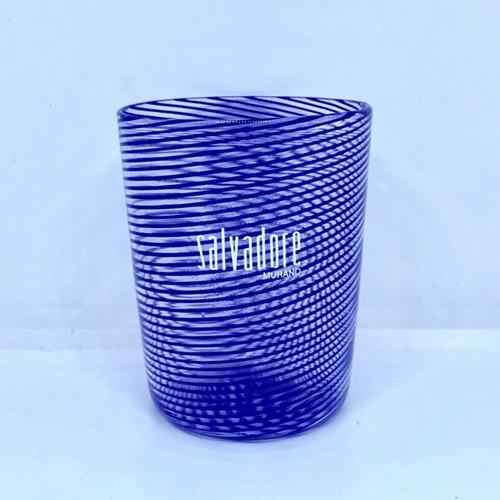 Item043 【再入荷】ヴェネチアングラス フィリグラーナグラス ショート ブルー