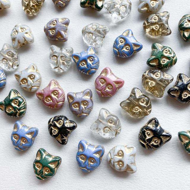 猫顔チェコガラスビーズ(ゴールド)
