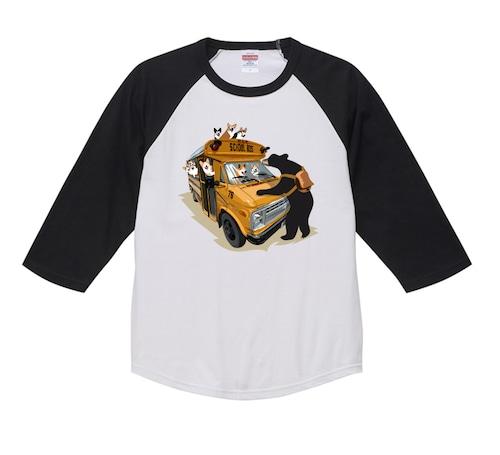 2021-longTS-001  :  秋の新デザイン アメリカンスクールバス 5.6オンス ラグラン 3/4スリーブ Tシャツ