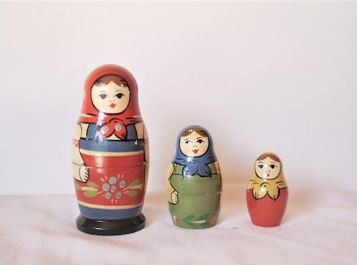 古いマトリョーシカ 3人組 セルギエフ 11cm
