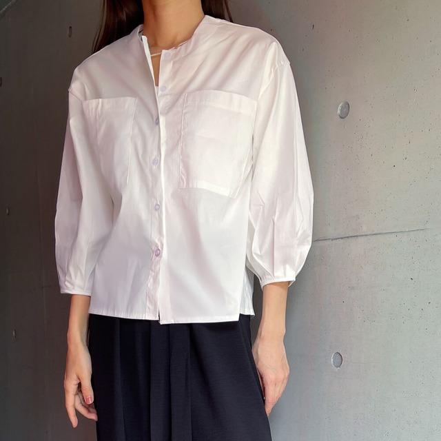 ノーカラービックポケットシャツ | 白シャツ シンプル 大人カジュアル