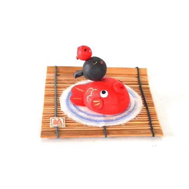 三福幸せ金魚 6-436 和紙 和風 置き物 かわいい ミニ 出目金 きんぎょ 魚 夏 飾り