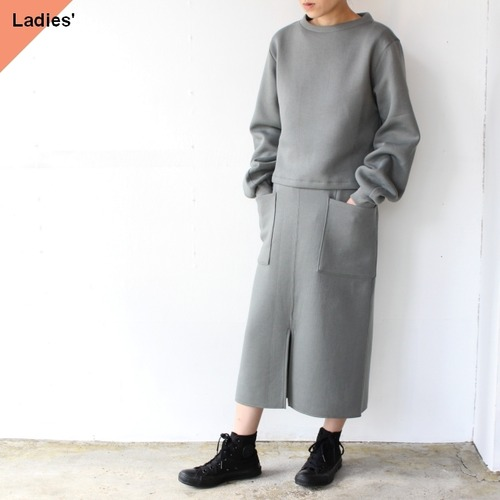 Siora  Cardboard knit setup / Puff sleeve pullover & Midi skirt (モスグレー)