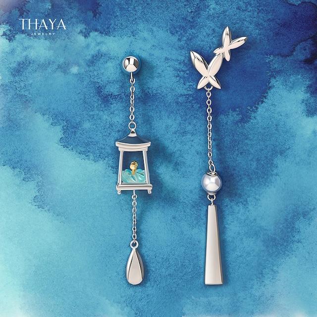 【THAYAシリーズ】★耳飾り★ ペア アクセサリー 非対称 気質アップ 立体的 青い ブルー レトロ