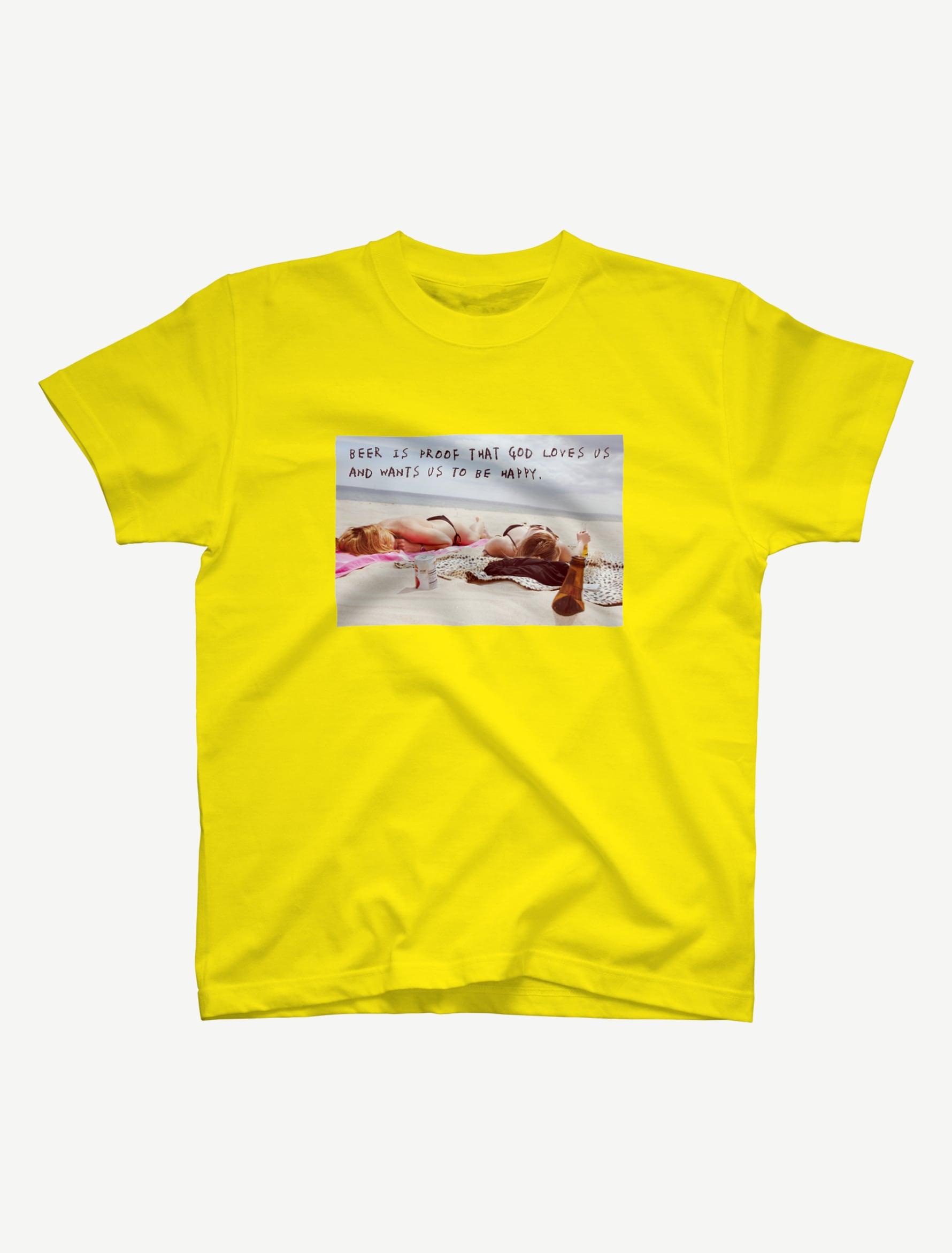 【悩み無用の開放ビーチ】Tシャツ(イエロー)