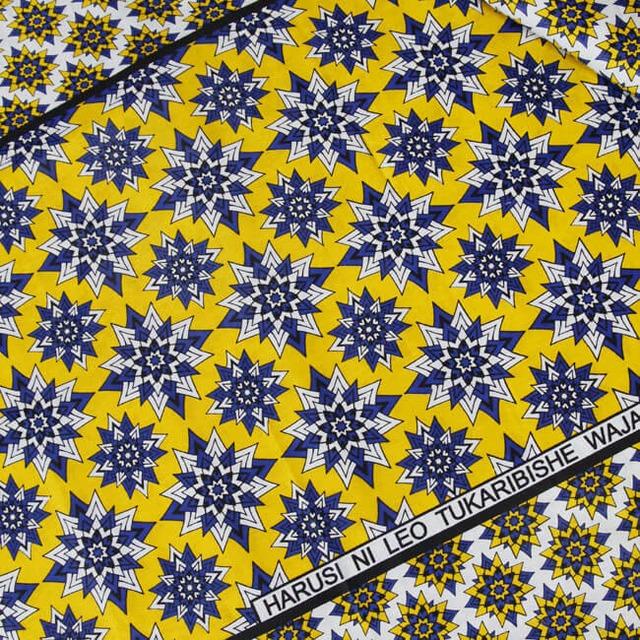 カンガ|イエロー × オリエンタルブルー  フラワー