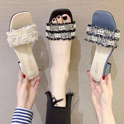 サンダル イミテーションパール スリッパ チャンキーヒール 5cm スクエアトゥ 韓国ファッション レディース 痛くない かわいい 靴 歩きやすい 616001444766