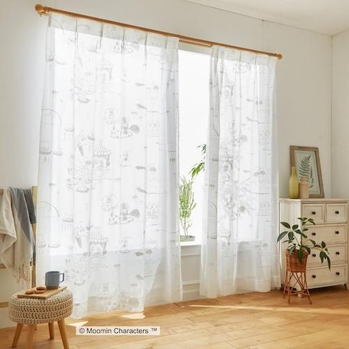 【最短8営業日で出荷】ボイルレースカーテン ムーミン 「EPIC エピック ホワイト」 (幅×丈):100×133cm(2枚組) ab-a1015