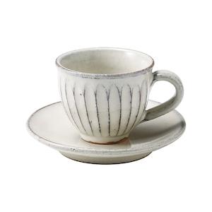 信楽焼 へちもん コーヒーカップ&ソーサー 約180ml 白釉彫 MR-3-3264