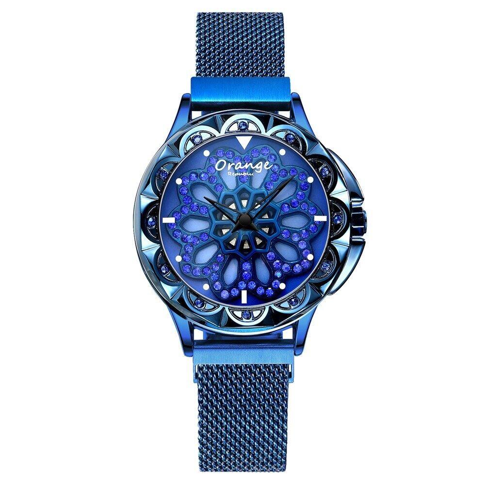 レディースウォッチトップラグジュアリーファッションレディースMIYOTAクォーツムーブメント腕時計ステンレススチールバンドドレス防水RelojMujer602-blue