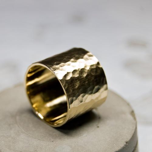 真鍮フラットリング 15.0mm幅 つや消し槌目 3号~27号|WKS FLAT RING 15.0 bs matte hammer|FA-376