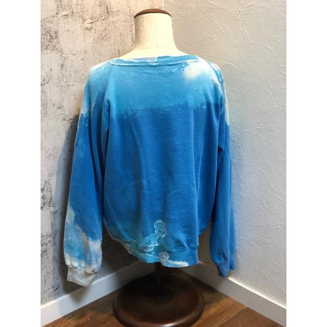 HIRAETH original bleach tye-dye sweat BLUE