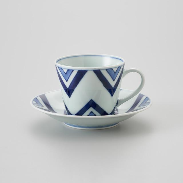 """【青花】""""Classic"""" ソバ型コーヒー碗皿(江戸紋)"""