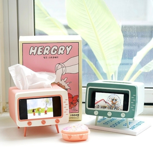 retro TV style smart phone stand tissue case 4colors / レトロ テレビ スマホ ホルダー ティッシュ ケース 韓国雑貨
