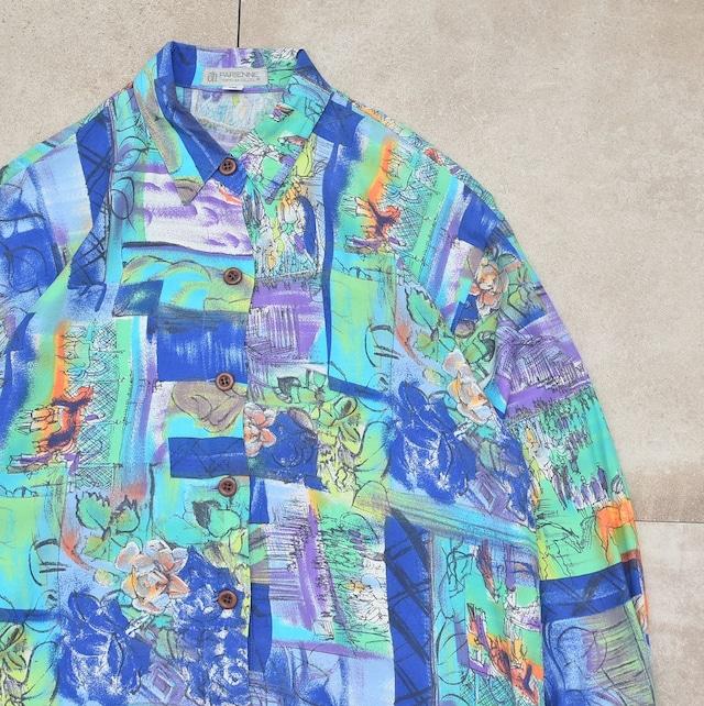 Jp vtg watercolor painting rayon shirt