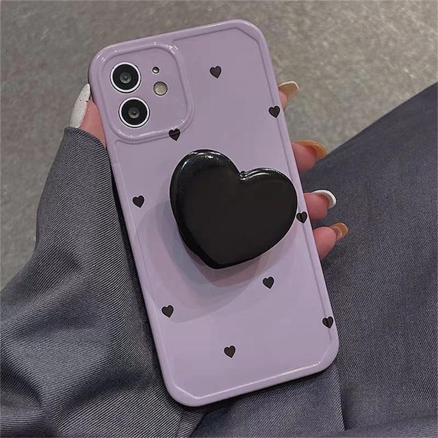 グリップ付     Black little heart iphone case