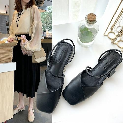 サンダル アンクルストラップ 韓国ファッション ローヒール スクエアヘッド レディース DCT-590495080534