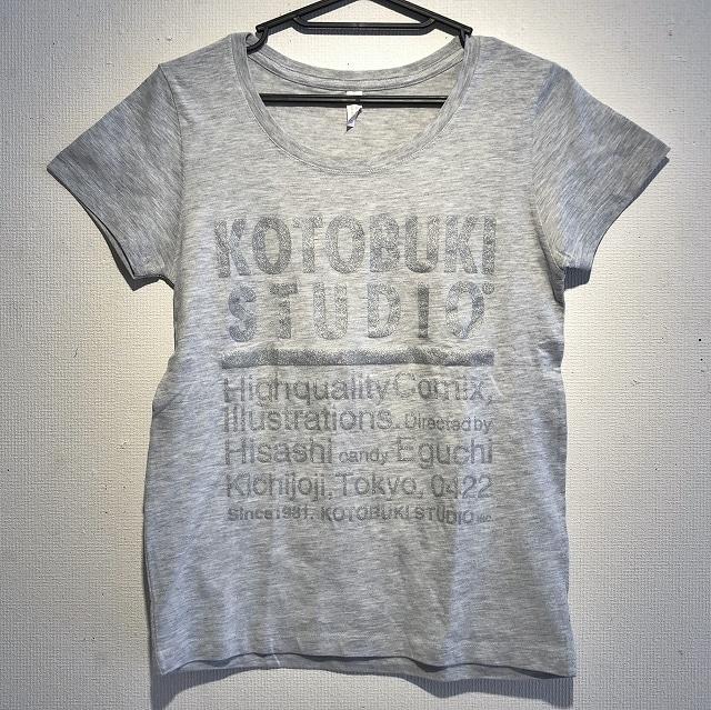 江口寿史 「KOTOBUKI STUDIO」レディースTシャツ(ヘザーグレー×銀字)クリアファイル付き( ※色は選べません)