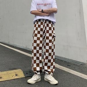 【ボトムス】ストリートチェック柄配色カジュアルパンツ43509193