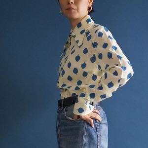 【送料無料】60's vintage dagger collar shirt Ivory cotton with blue leave pattern blouse