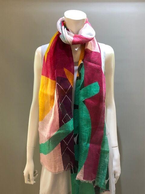 LARIOSETA(ラリオセタ)OK965/10713 Col.012  麻(リネン)100% イタリア製 プリントスカーフ