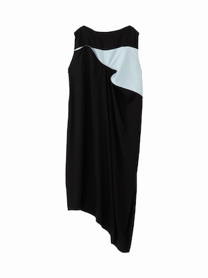 Piping dress / black ×light blue  / W15DR02