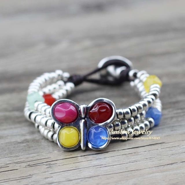 春ラップビーズ色樹脂蝶の革のブレスレット魅力の腕輪 LOW0774LBYellow