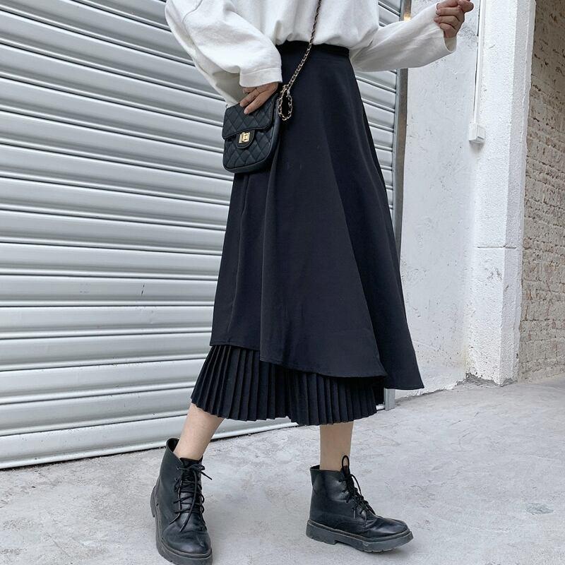 【L-5XL】プリーツに異素材を重ねたデザインでお腹周りを綺麗にカバーするイレギュラープリーツスカート♪