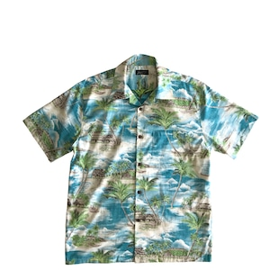 Mountain 半袖オープンアロハシャツ / Grass Shack /  Capri Blue