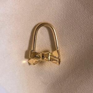 ribbon pin earring short #1727 16G K18PG / K18YG