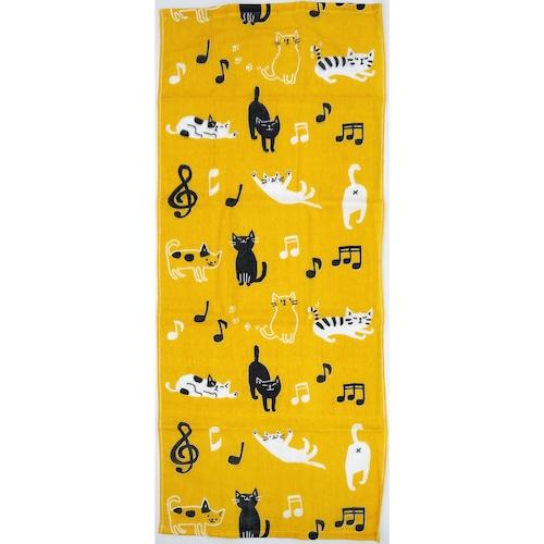 猫フェイスタオル(てぬぐいタオルのあねこ)音符猫イエロー