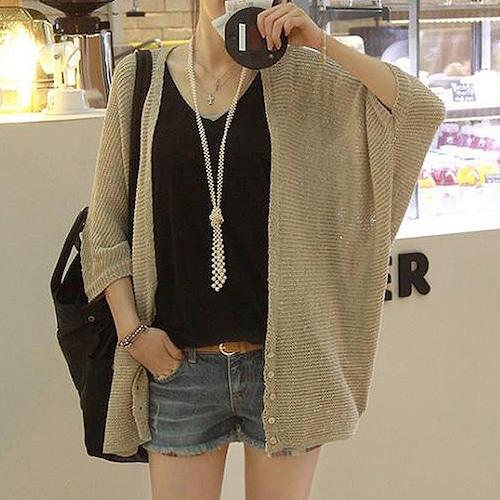 カーディガン 薄手 ゆったり 韓国 ファッション レディース シングルブレスト ルーズ 大人カジュアル (DCT-548444657239)
