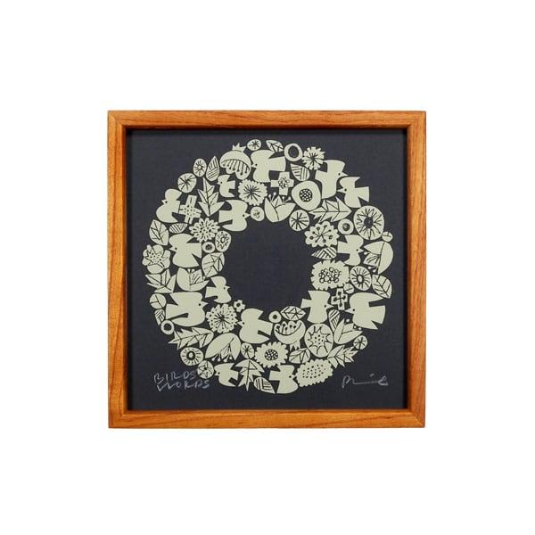 BIRDS' WORDS(バーズワーズ) Silk Screen 20 Wreath ダークグレー/クリーム 額装タイプ