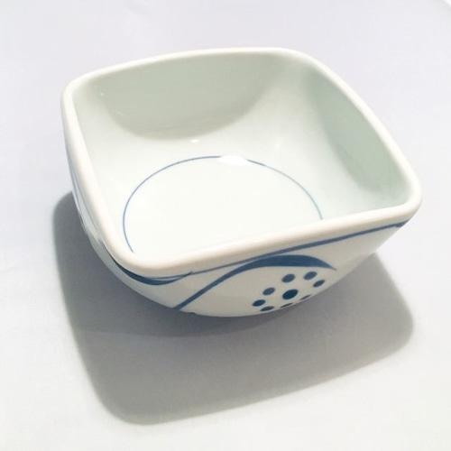【砥部焼/梅山窯】5寸四方曲鉢(太陽)