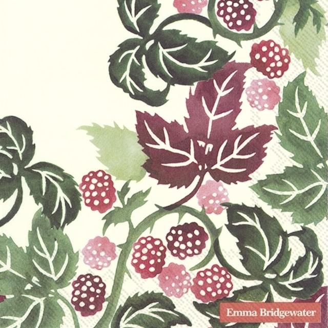 【Emma Bridgewater】バラ売り2枚 ランチサイズ ペーパーナプキン BLACKBERRIES クリーム