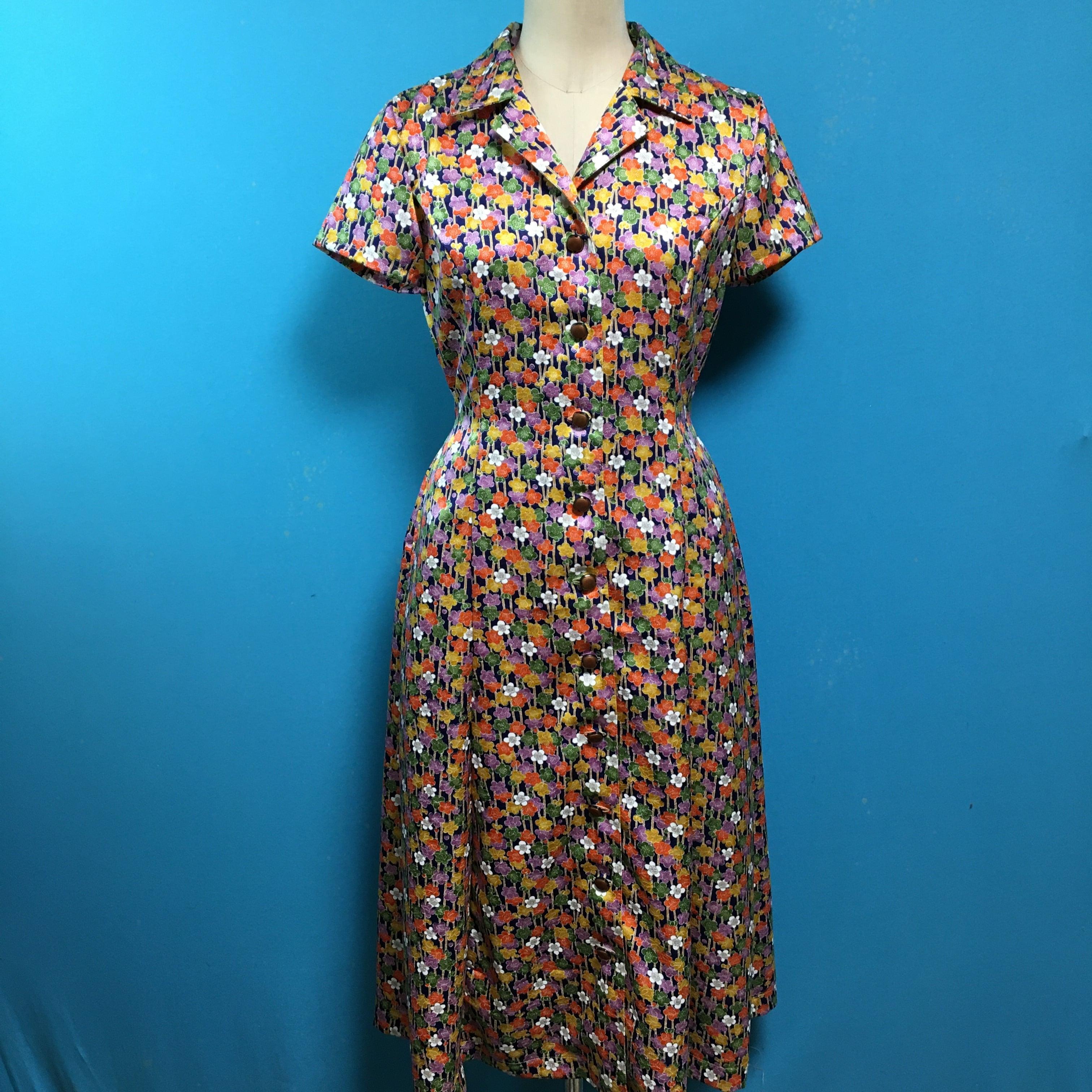Vintage 着物 サイドポケットのレトロワンピース 梅
