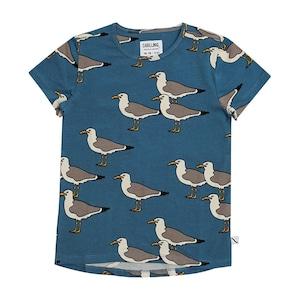 【21SS】カーラインク(CARLIJNQ)Seagull shortsleeve dropback カモメ 鳥 Tシャツ