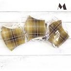 【おおやまとみこ】立体布マスク(茶チェック)・レディースサイズ/マスク