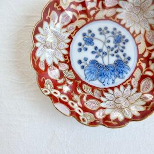 〈再入荷〉【30951】九谷焼 花赤絵小皿 明治 / Imari Flower Plate  - Red & Blue / Meiji Era