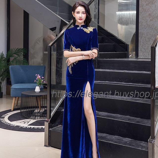 フィッシュテールドレス ベルベットチャイナドレス チャイナ風服 パーティードレス ロングドレス お呼ばれドレス イブニングドレス 大きいサイズ S M L LL 3L 4L セクシー エレガント ブルー 青い