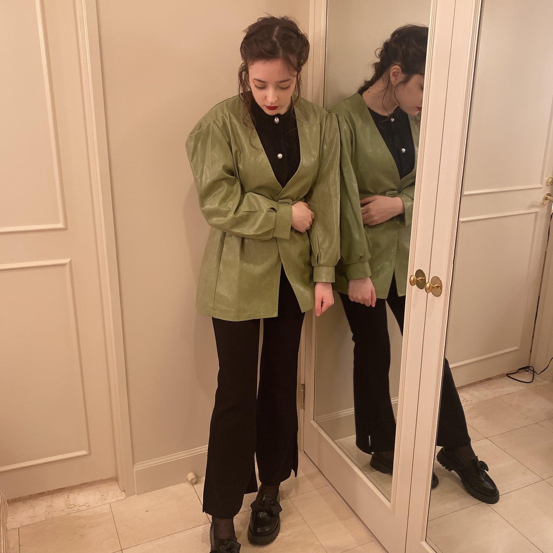 【LAST1】side slit stretch pants