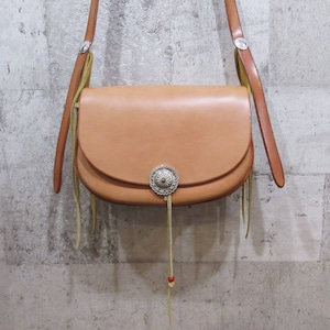 GOROS K18メタル付フラワーコンチョカスタムバケットバッグ サドル ※超美品