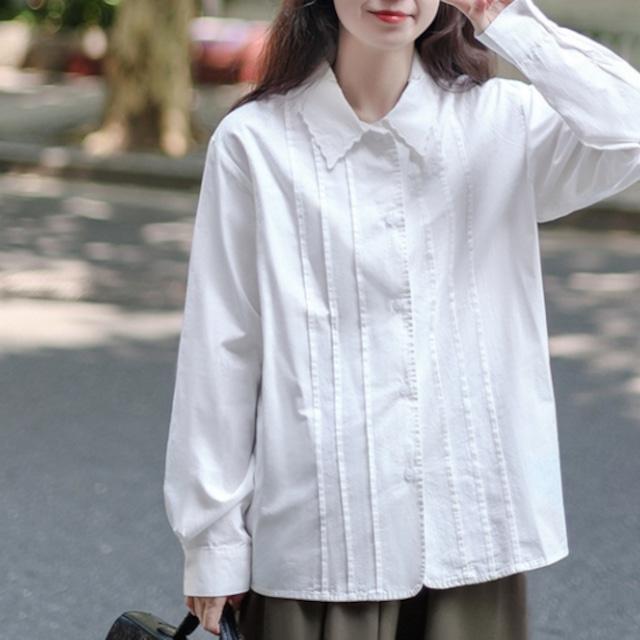 シンプルガーリー♡スカラップ襟シンプルシャツ A1026