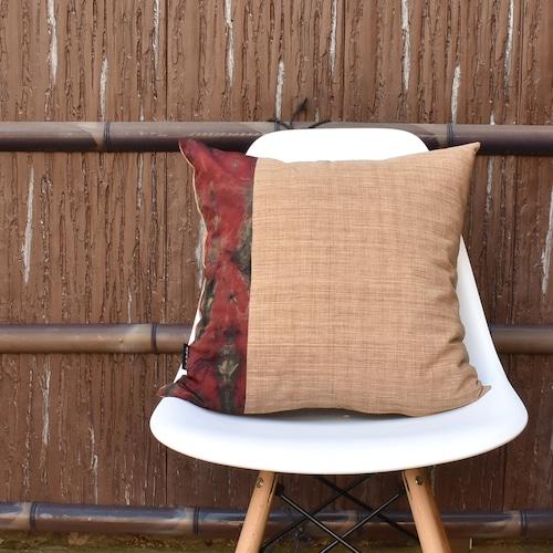 クッションカバー 柿渋×絞り染め 45cm×45cm 日本製
