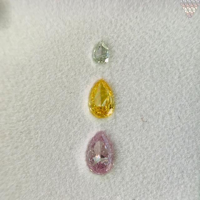 合計  0.43 ct 天然 カラー ダイヤモンド 3 ピース GIA  1 点 付 マルチスタイル / カラー FANCY DIAMOND 【DEF GIA MULTI】