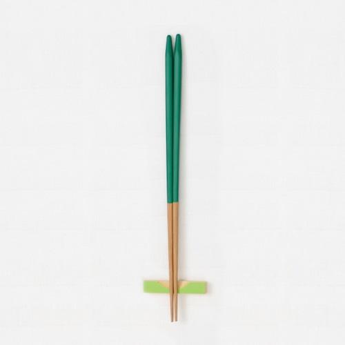 細身角箸(緑) 【45-032】