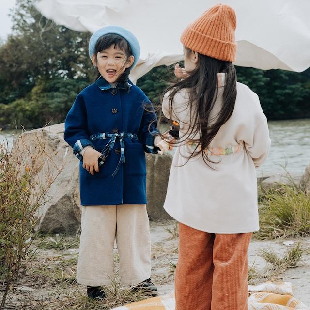 【ナチュラル キッズ コート】韓国子供服 リボン オフホワイト ネイビー コート 防寒 上着 子供服 おしゃれ 男の子 アウター 女の子 ユニセックス ベビー キッズ ベビー おでかけ 子供服 90-130 送料無料