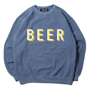 BEER 重ねロゴスウェット ブルー